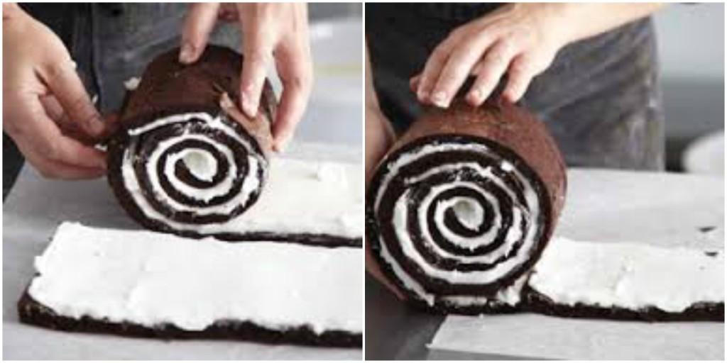 Šarena torta - uvijanje rolata.