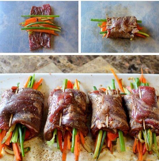 Stavite povrće i zavite šarene rolne.