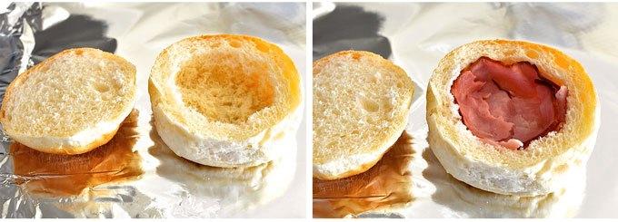 Izdubiti sendvič i obložiti ga šunkaricom.